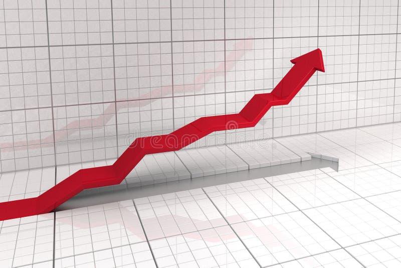 Arrow diagramm. Upwards leading arrow in stock market exchange stock illustration