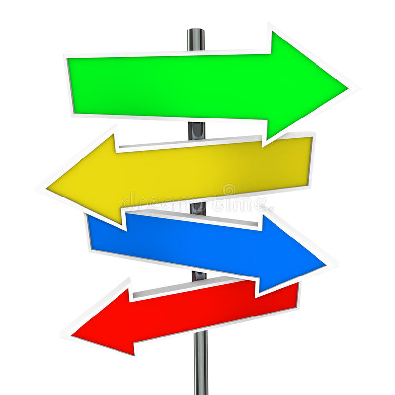 Arrow Direction Signs Four 4 Colorful Guide Post Copyspace Blank royalty free illustration
