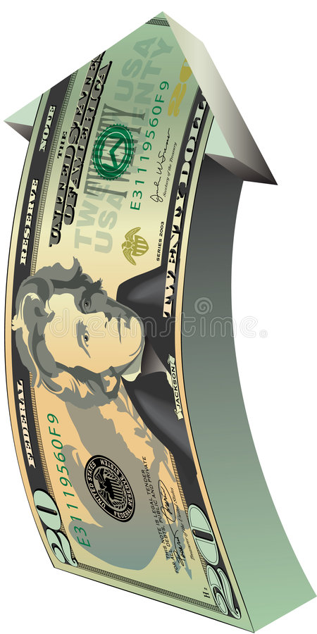 Arrow with dollar bill design stock illustration