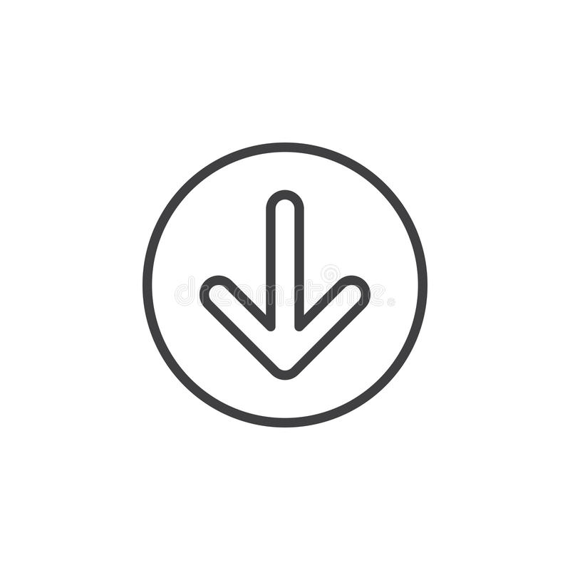 Arrow down circular line icon. Round simple sign. royalty free illustration