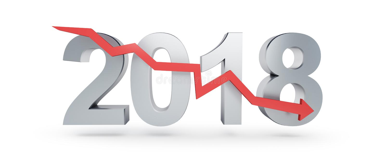 Arrow down for 2018 on a white background 3D illustration, 3D rendering stock illustration