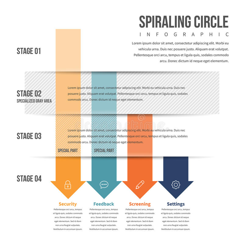Arrow Downward Stack Infographic. Vector illustration of arrow downward stack infographic design element stock illustration