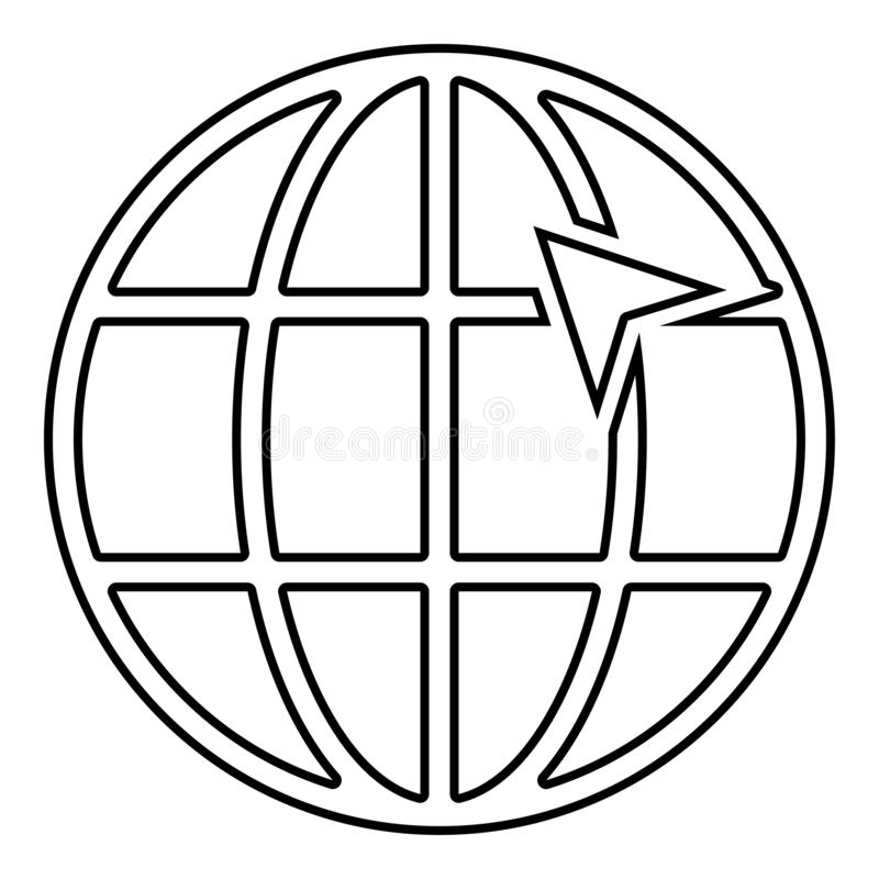 Arrow on earth grid Globe internernet concept Click arrow on website Idea using website icon black color outline vector stock illustration