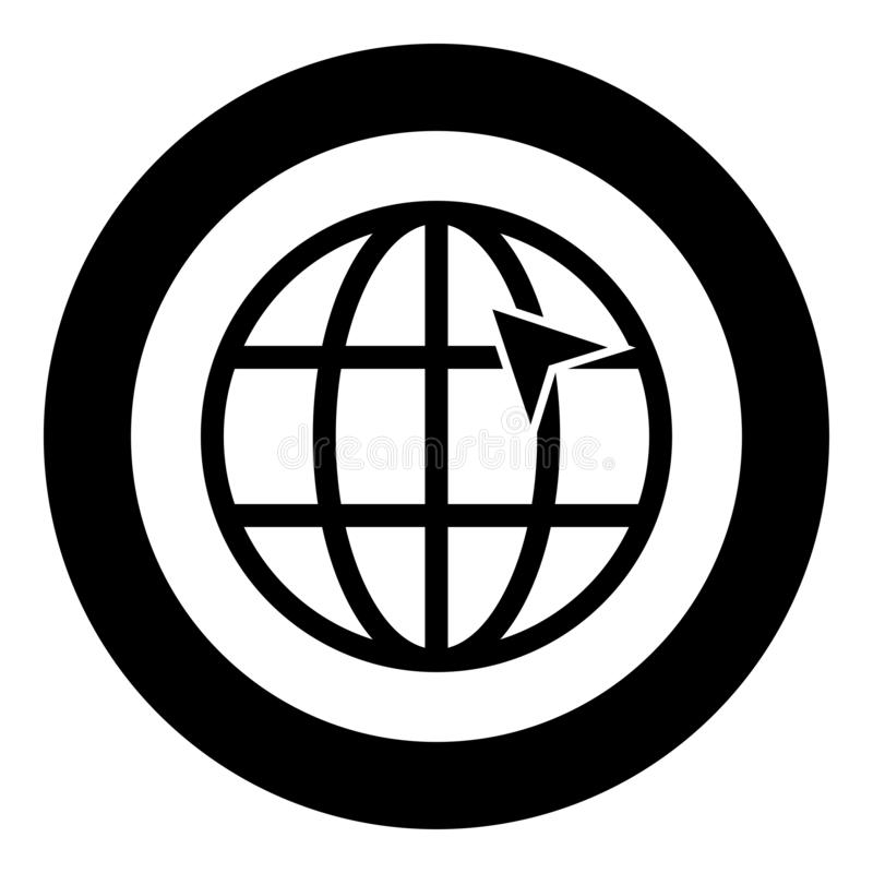 Arrow on earth grid Globe internernet concept Click arrow on website Idea using website icon in circle round black color vector royalty free illustration