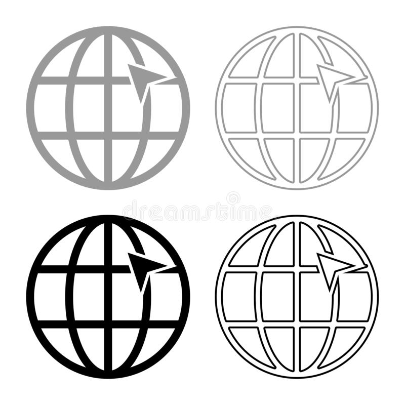 Arrow on earth grid Globe internernet concept Click arrow on website Idea using website icon set black color vector illustration. Flat style simple image vector illustration