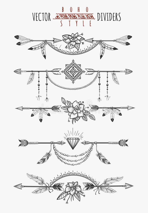 Arrow feather page dividers. Arrow feather drawing page dividers. Wild boho gypsy romantic elements for invitation design. Vector illustration stock illustration