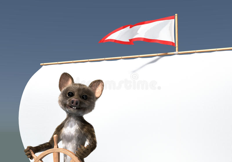 Arrow flag mouse sailor. Mouse creature as sailor standing at the wheel against a sail, arrow shaped flag with red contour showing the wind direction. 3d render royalty free illustration