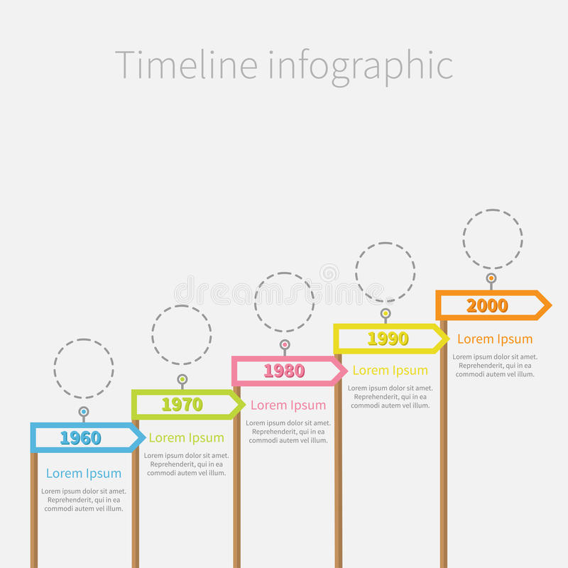 Arrow Flag on wooden sticks Timeline Infographic with dash line circles and text. Template. Flat design. Vector illustration vector illustration