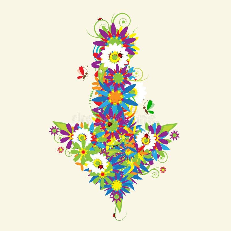 Arrow, floral design vector illustration