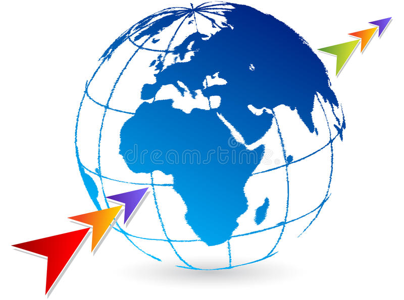 Arrow global logo royalty free illustration