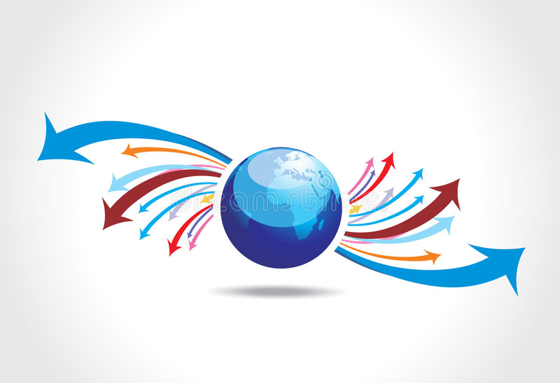 Download Arrow globe stock vector. Image of power, motion, sample - 7076377