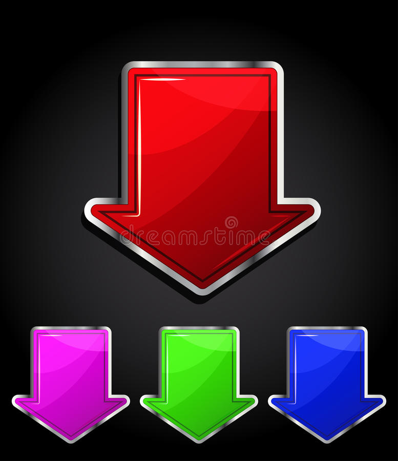 Download Arrow Glossy Download Button, Icon. Stock Vector - Image: 18894440