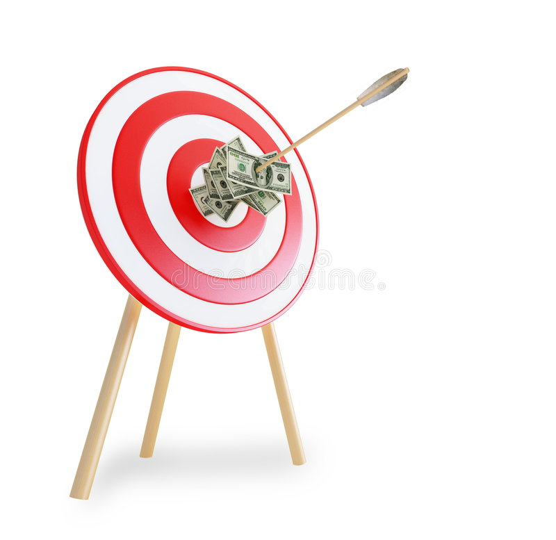 Download An Arrow Got In A Target With Dollars Stock Illustration - Illustration: 7900549