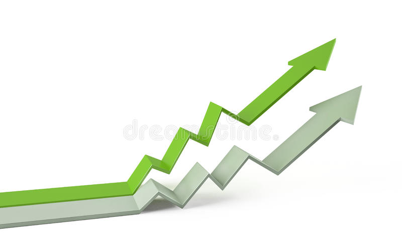 Arrow graph chart 3d. Business growth arrow chart 3d royalty free illustration