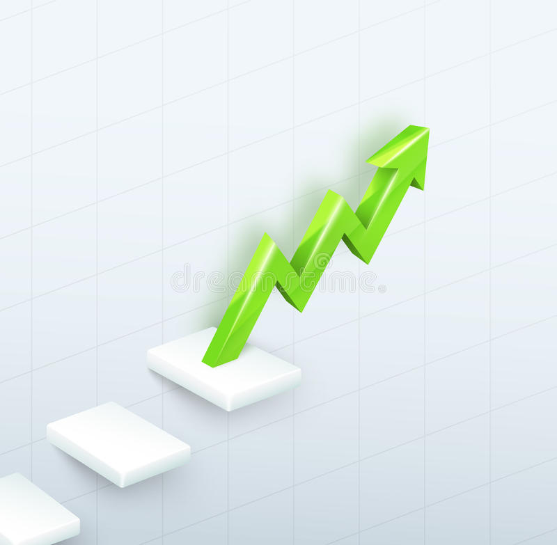Arrow Graph with steps up stock illustration