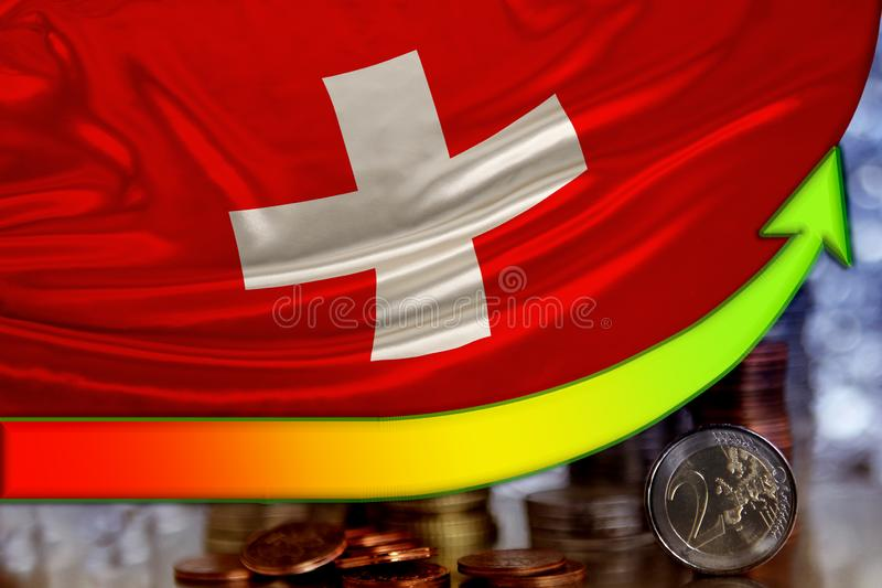 Arrow of the growing positions of the euro currency and the flag of the country of Switzerland, the concept of financial growth,. The dynamics of the exchange stock image