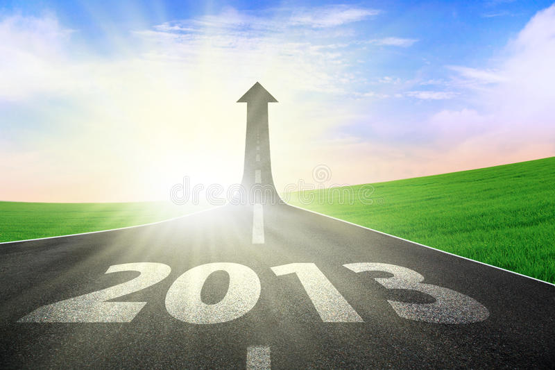 Arrow of growth 2013. Up arrow showing level of growth 2013 road royalty free illustration