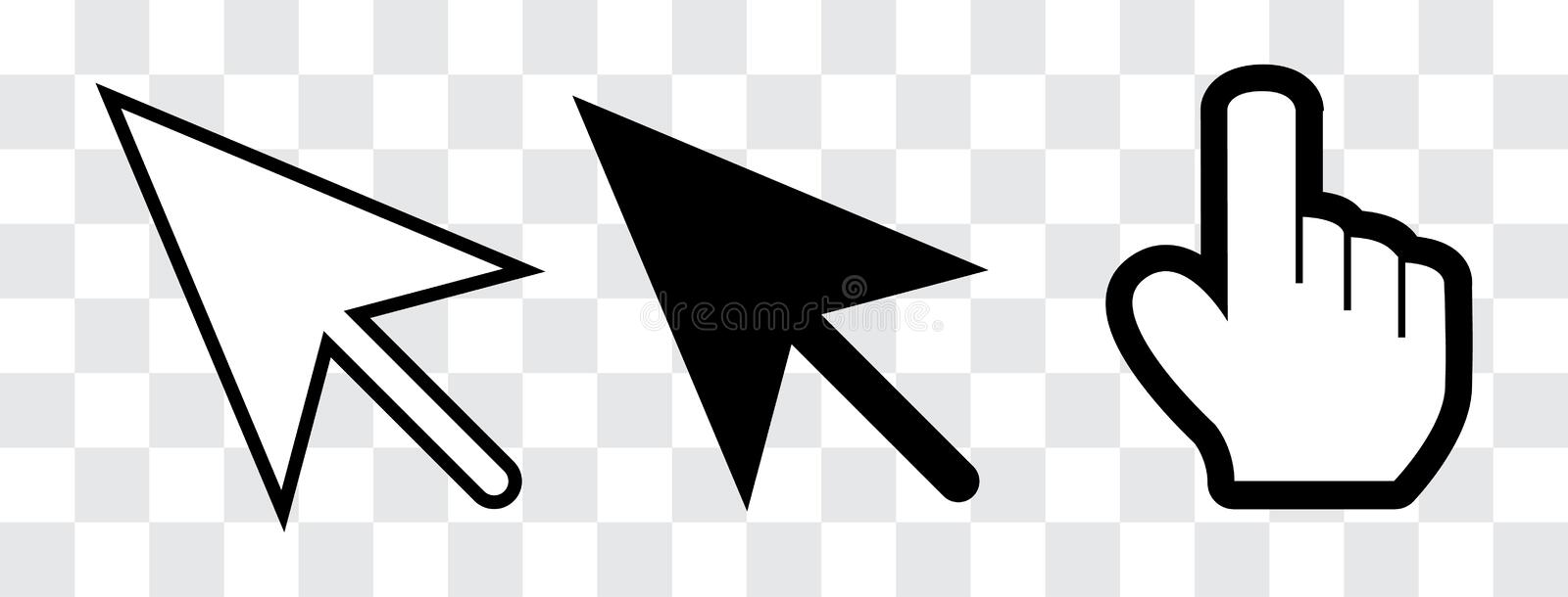 Arrow and hand cursor stock illustration