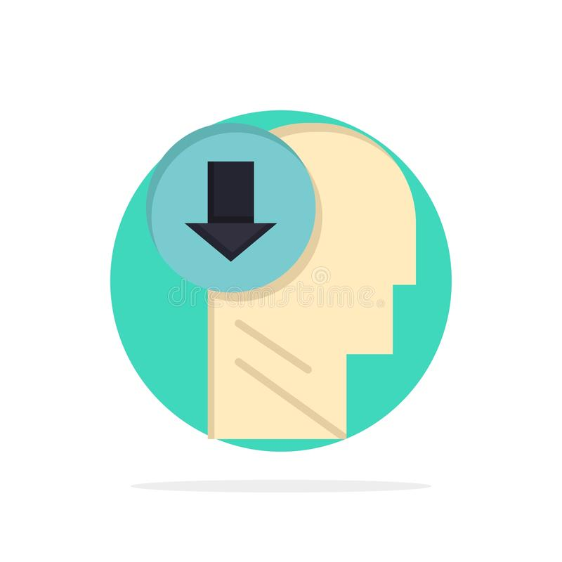 Arrow, Head, Human, Knowledge, Down Abstract Circle Background Flat color Icon royalty free illustration