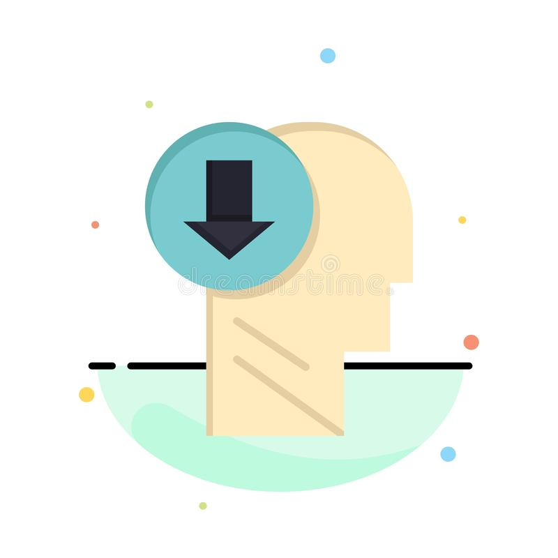 Arrow, Head, Human, Knowledge, Down Abstract Flat Color Icon Template stock illustration