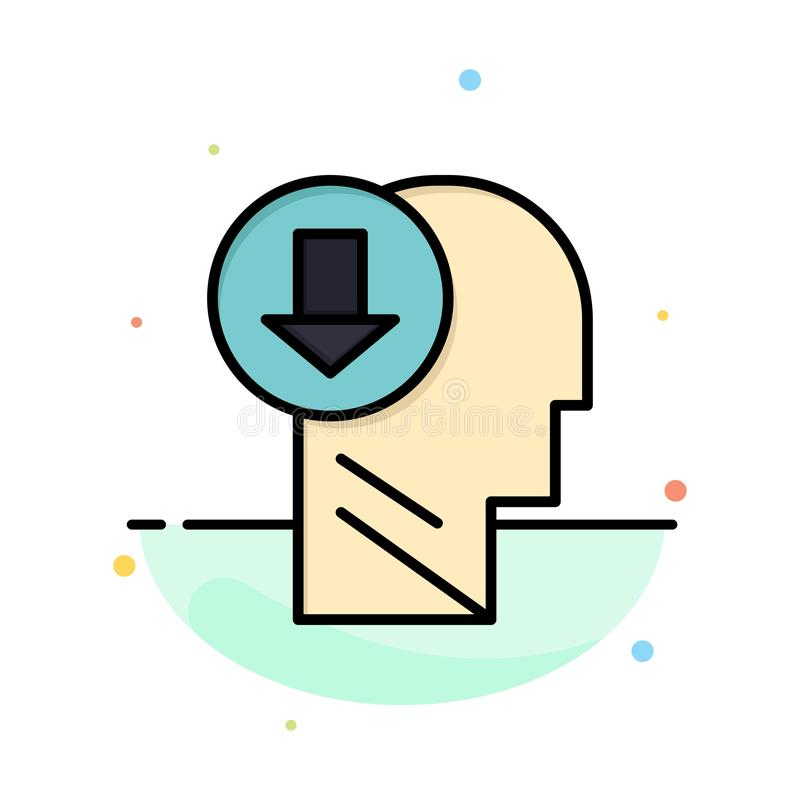 Arrow, Head, Human, Knowledge, Down Abstract Flat Color Icon Template royalty free illustration