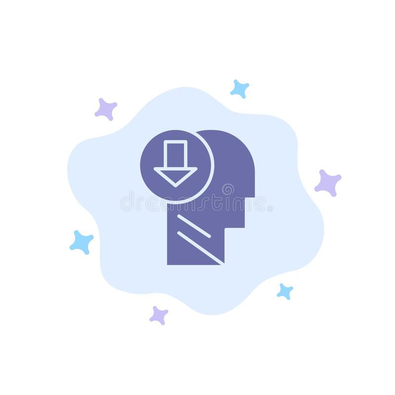 Arrow, Head, Human, Knowledge, Down Blue Icon on Abstract Cloud Background stock illustration