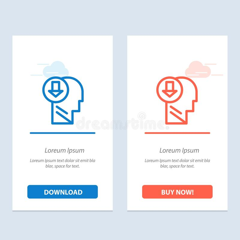 Arrow, Head, Human, Knowledge, Down  Blue and Red Download and Buy Now web Widget Card Template stock illustration