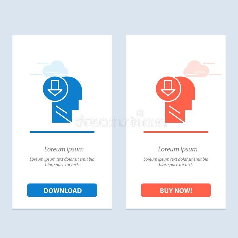Arrow, Head, Human, Knowledge, Down  Blue and Red Download and Buy Now web Widget Card Template vector illustration