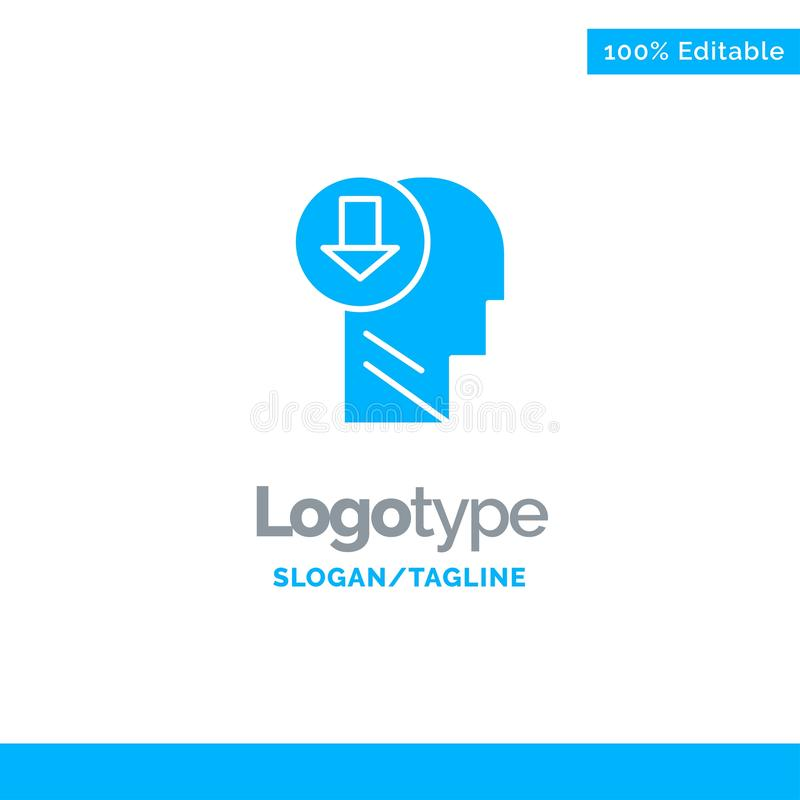 Arrow, Head, Human, Knowledge, Down Blue Solid Logo Template. Place for Tagline vector illustration