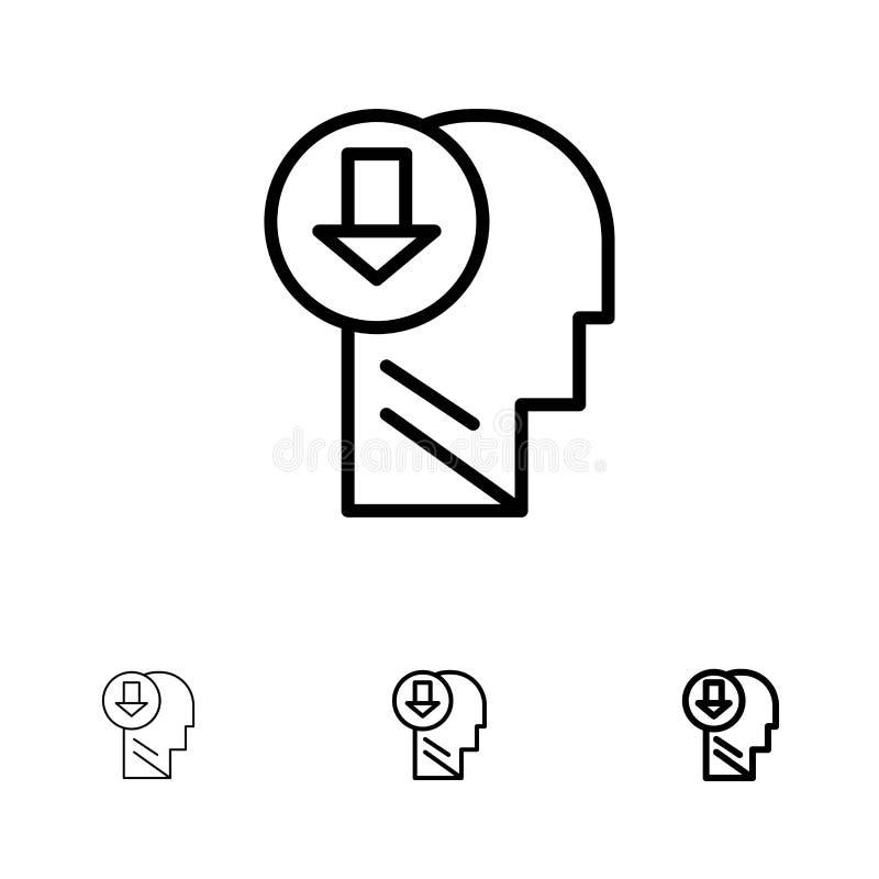 Arrow, Head, Human, Knowledge, Down Bold and thin black line icon set vector illustration