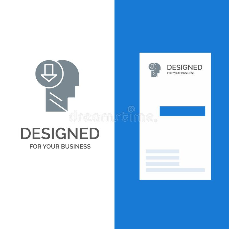 Arrow, Head, Human, Knowledge, Down Grey Logo Design and Business Card Template stock illustration