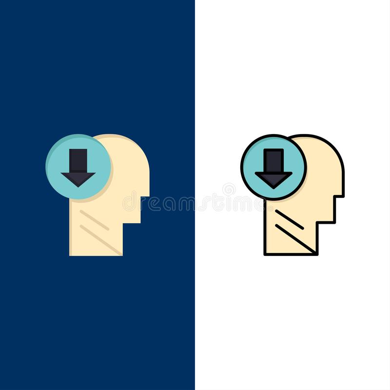 Arrow, Head, Human, Knowledge, Down  Icons. Flat and Line Filled Icon Set Vector Blue Background royalty free illustration
