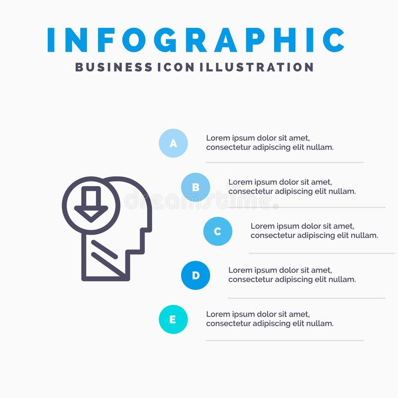 Arrow, Head, Human, Knowledge, Down Line icon with 5 steps presentation infographics Background royalty free illustration
