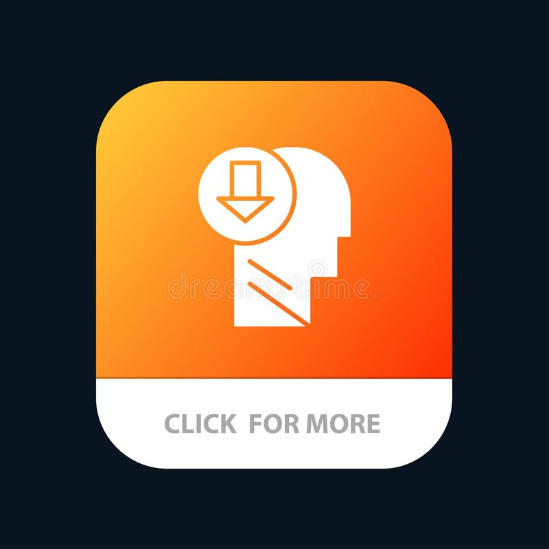 Arrow, Head, Human, Knowledge, Down Mobile App Button. Android and IOS Glyph Version vector illustration