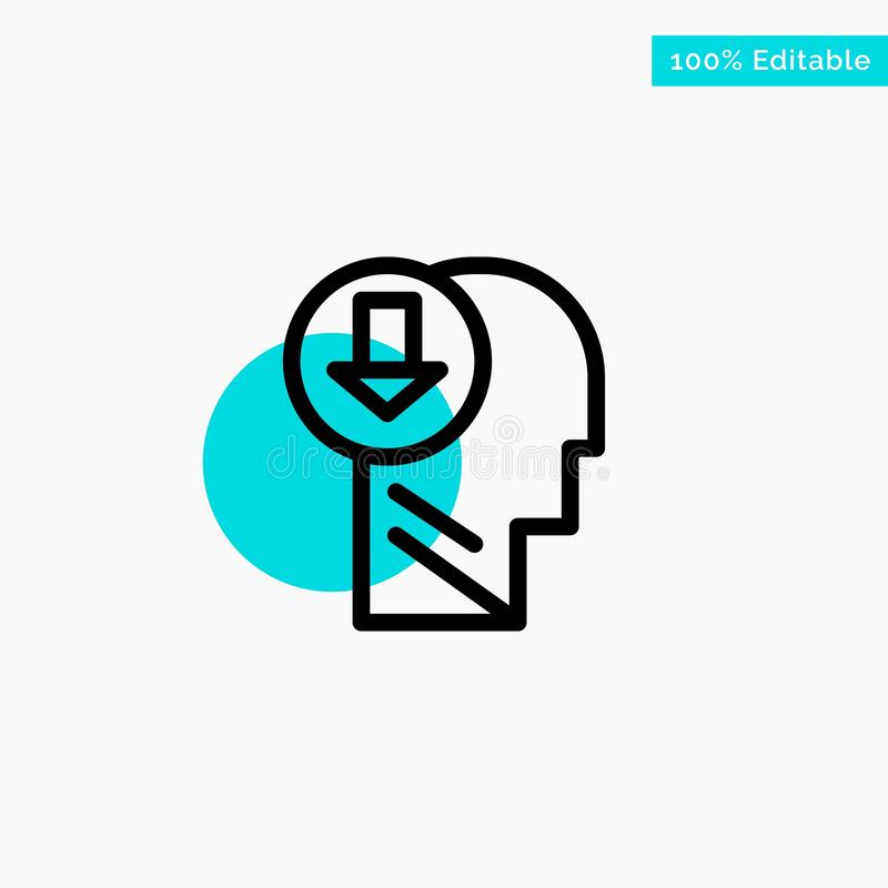 Arrow, Head, Human, Knowledge, Down turquoise highlight circle point Vector icon stock illustration