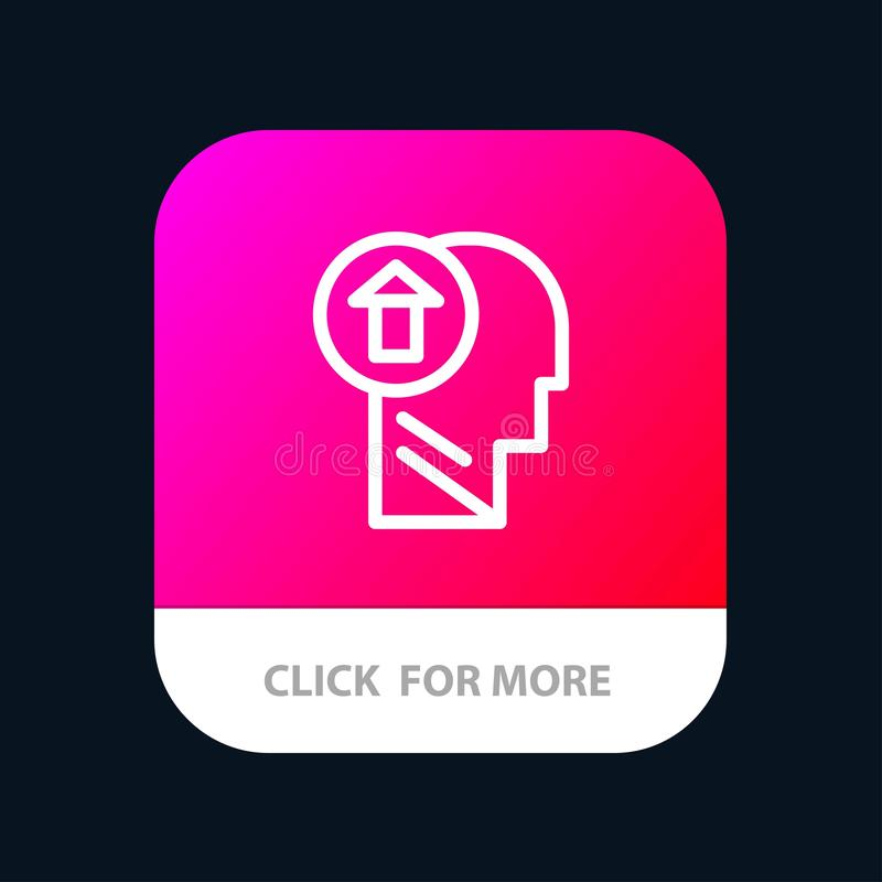 Arrow, Head, Human, Knowledge, Mind, Up Mobile App Button. Android and IOS Line Version stock illustration