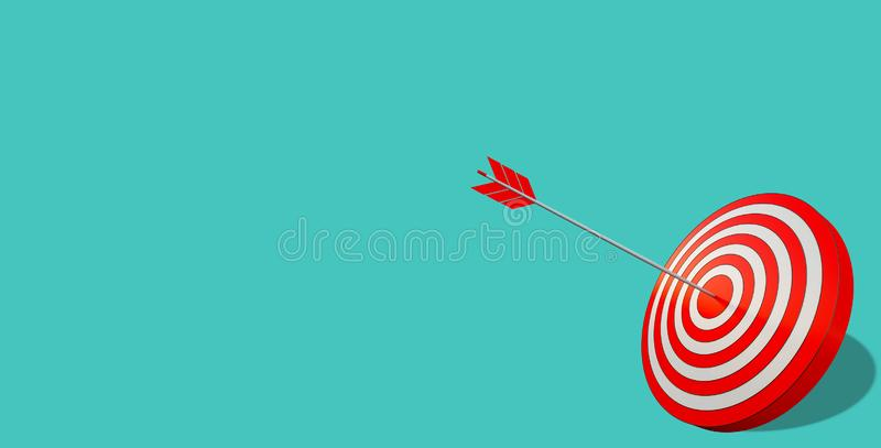 Arrow hit the center of target. Business target achievement concept. Isolated on cyan background. Target hit in the middle by arrow. Business concept of success royalty free stock photo