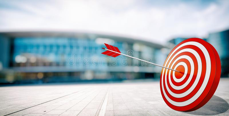 Arrow hit the center of target. Business target achievement concept. Target hit in the middle by arrow. Business concept of success stock photo