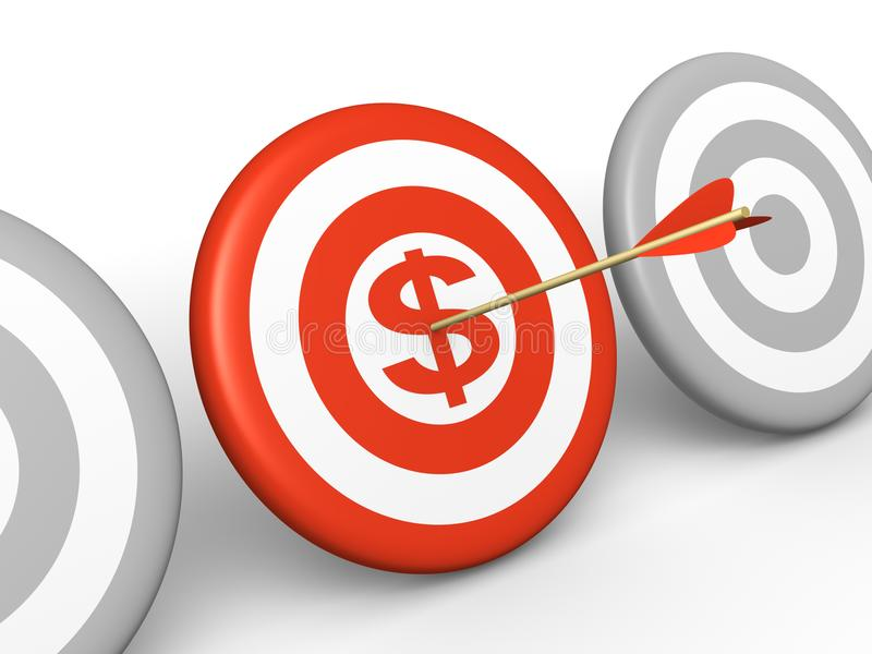 Arrow hitting the dollar sign on center of target stock photography