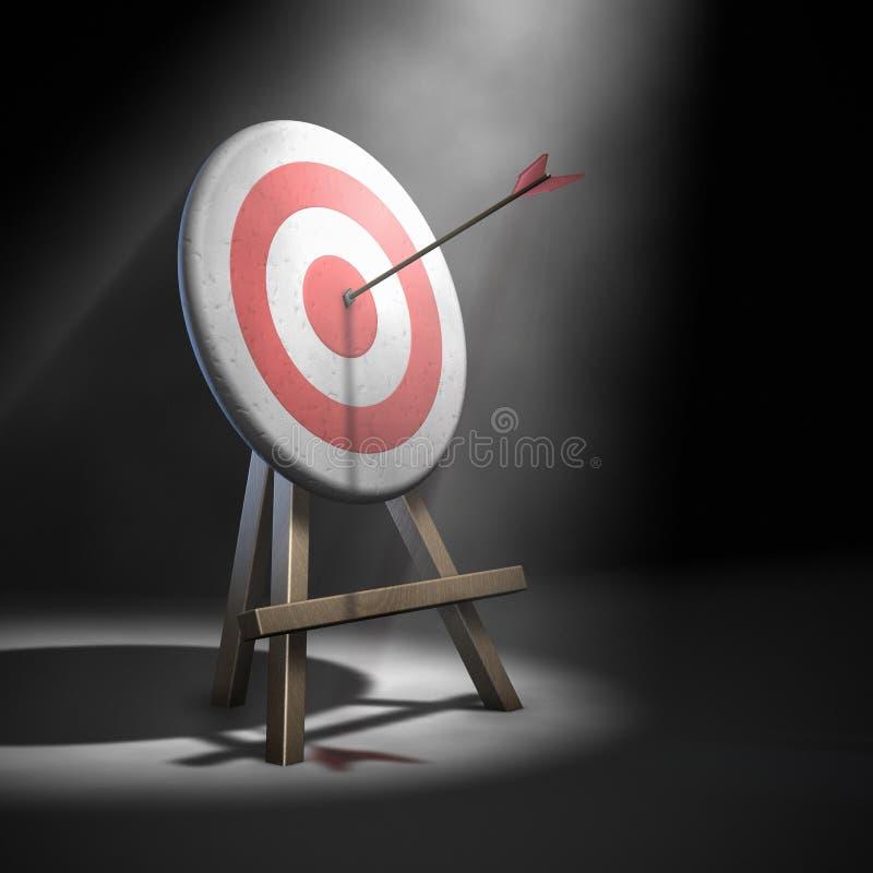 Arrow hitting target stock photo