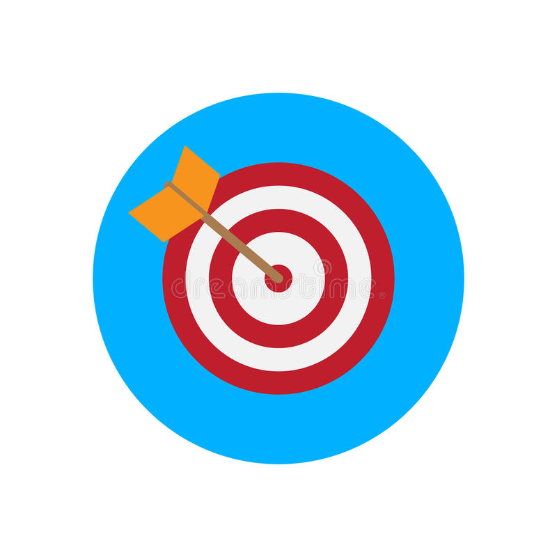 arrow hitting target flat icon round colorful button bullseye rh dreamstime com