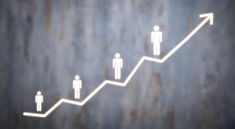 Arrow with a human figures . Personal development royalty free stock image