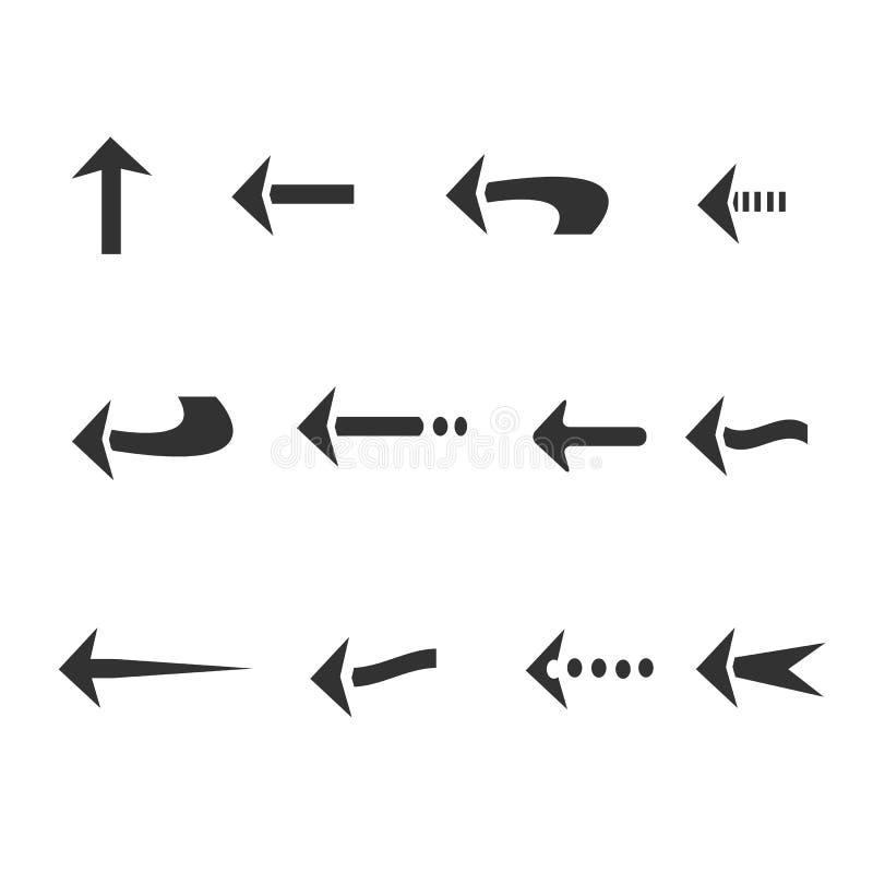 12 arrow icon cartoon style isolated background vector illustration