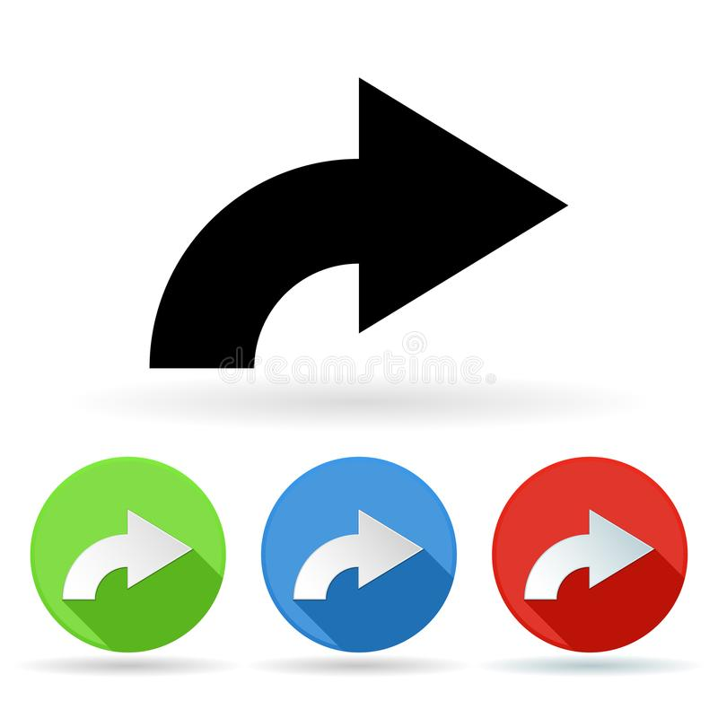 Arrow Icon Colored Set Of Right Turn Arrow Signs Stock Vector