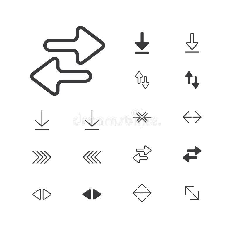 arrow--icon-expand-2-1artboardArrowsymbol isolerat perfekt PIXEL med plan stil i vit bakgrund för UI, app, webbplats, logo V stock illustrationer