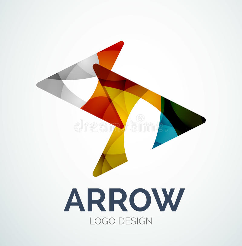 arrow icon logo design made of color pieces stock vector