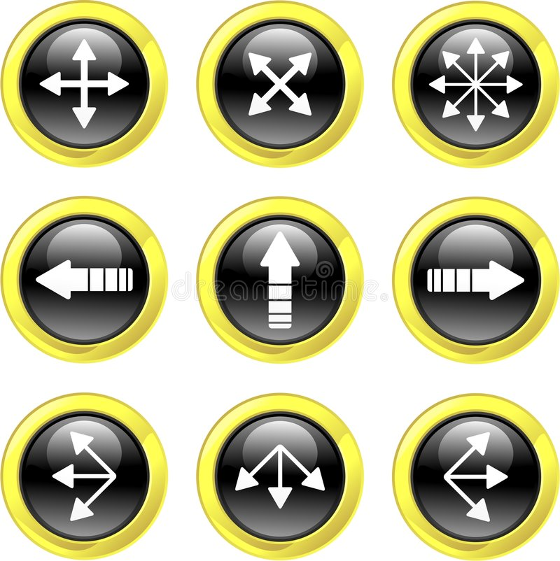 Arrow icons. Collection of arrow icons set on black glossy buttons isolated on white stock illustration
