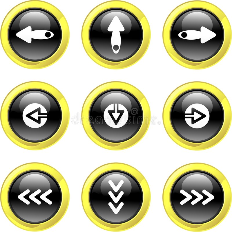 Arrow icons. Collection of arrow icons set on black glossy buttons isolated on white vector illustration
