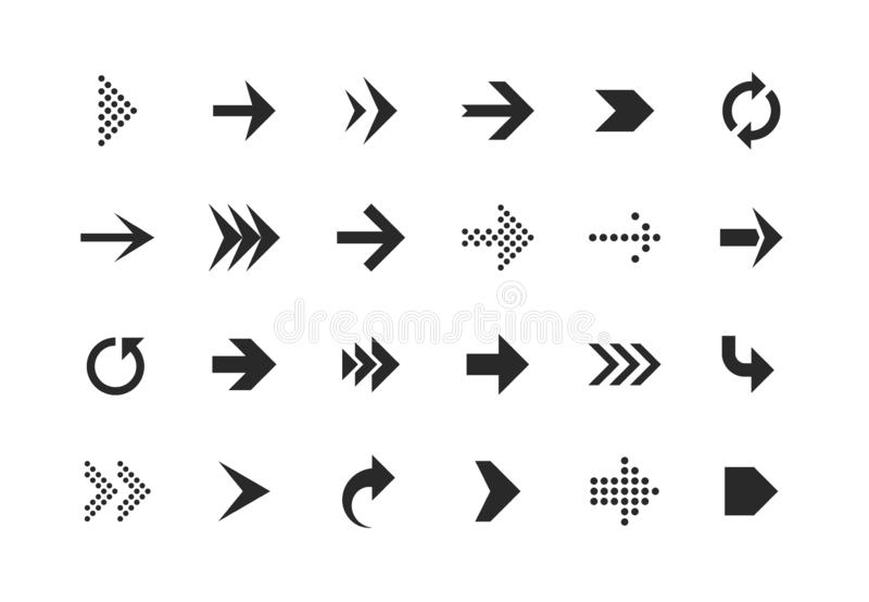 Arrow icons. Arrows set up pointer right curve down direction left cursor button label next page web interface, flat vector illustration