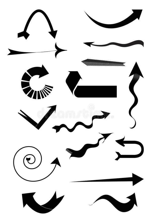 Arrow Icons Set. Set of black arrow icons for your design isolated on white background